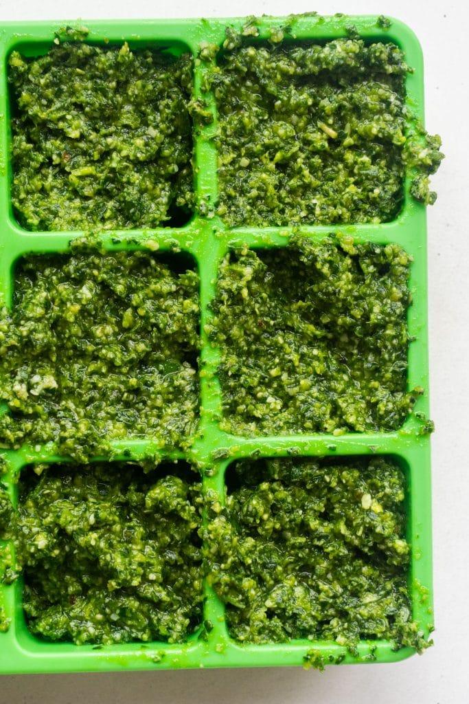 frozen pesto cubes in ice cube trays