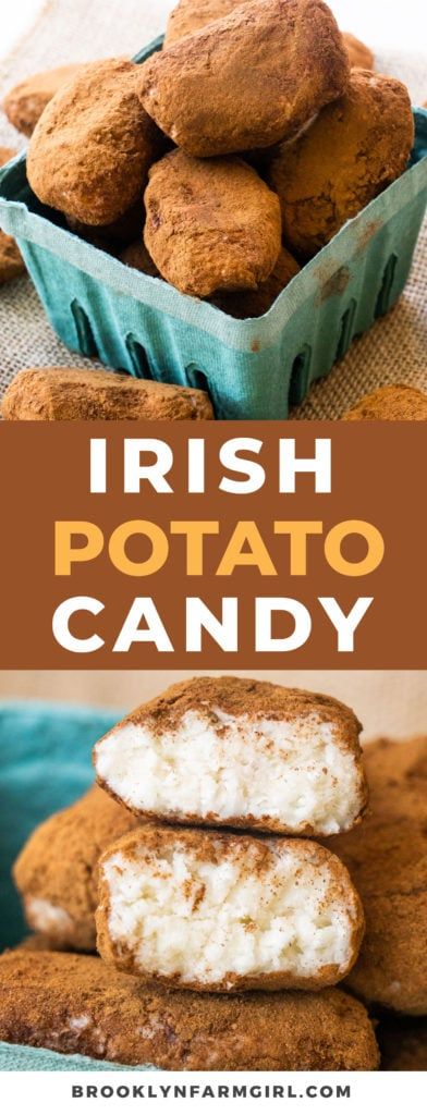 Homemade Irish Potato Candy that's easy to make and delicious!  This old fashioned candy looks just like potatoes! Made with cream cheese and powdered sugar.