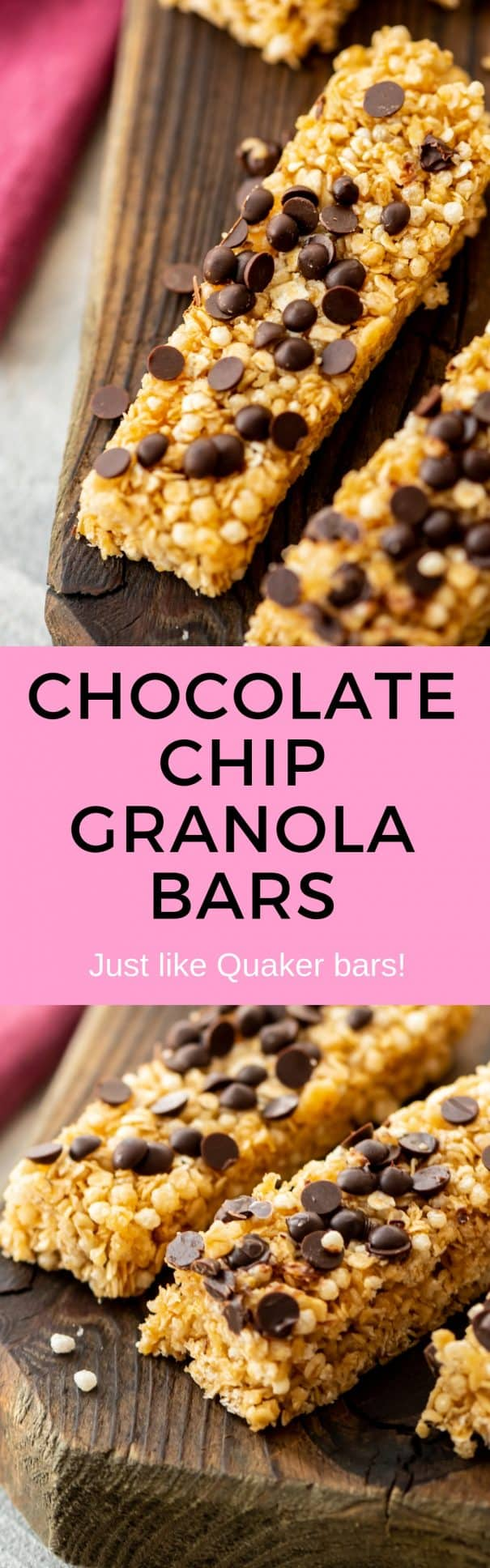 Easy to make homemade chocolate chip granola bars recipe!  They taste just like Quaker Granola bars but are made with simple, healthy ingredients! Kid, toddler snack approved!