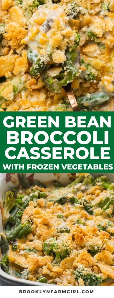This comforting Green Bean Broccoli Casserole (With Frozen Vegetables) comes together quickly with the help of frozen vegetables, canned mushroom soup, cheddar cheese, and crunchy Ritz crackers. It's a delicious and creamy side dish you can enjoy for the holidays or weeknight dinners.