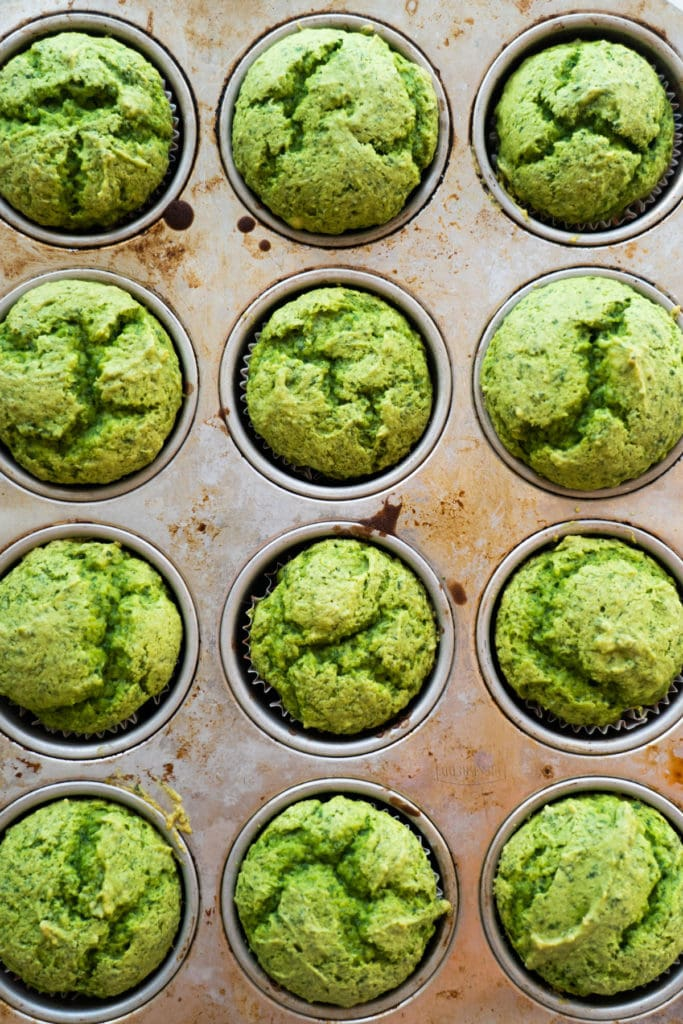 Green cupcakes baked in muffin pan