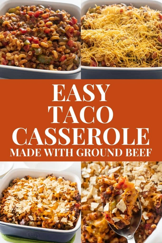 Easy to make Taco Casserole with ground beef and tortilla chips.  Bake in the oven for 30 minutes and serve for a simple weeknight meal.