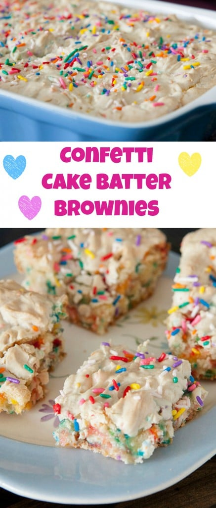 Easy to make sprinkle Confetti Cake Batter Brownies recipe. These brownies are moist and so ooey gooey good!