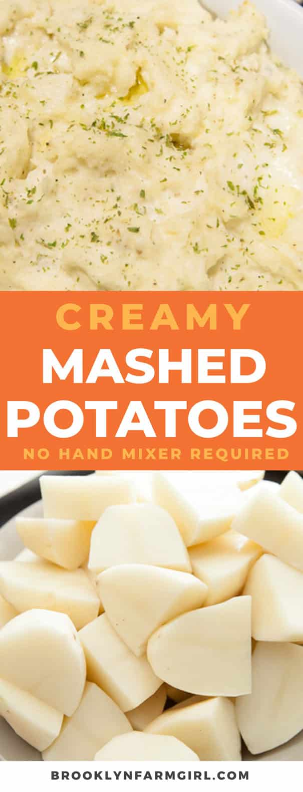 The best creamy mashed potatoes recipe made with cream cheese. Easy to make, no hand mixer required! This is my #1 requested dish at Thanksgiving dinner!