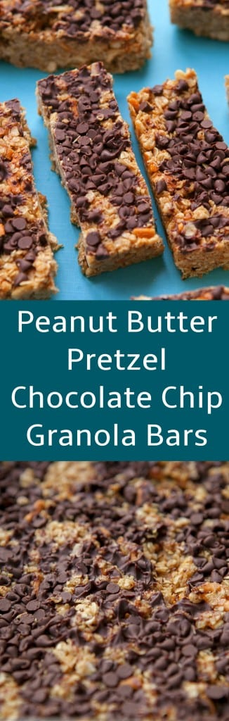 These Homemade Peanut Butter Pretzel Chocolate Chip Granola Bars are about to become your new favorite breakfast, snack and dessert! This is a healthy copycat recipe for Quaker Peanut Butter Chocolate Chip Granola Bars.