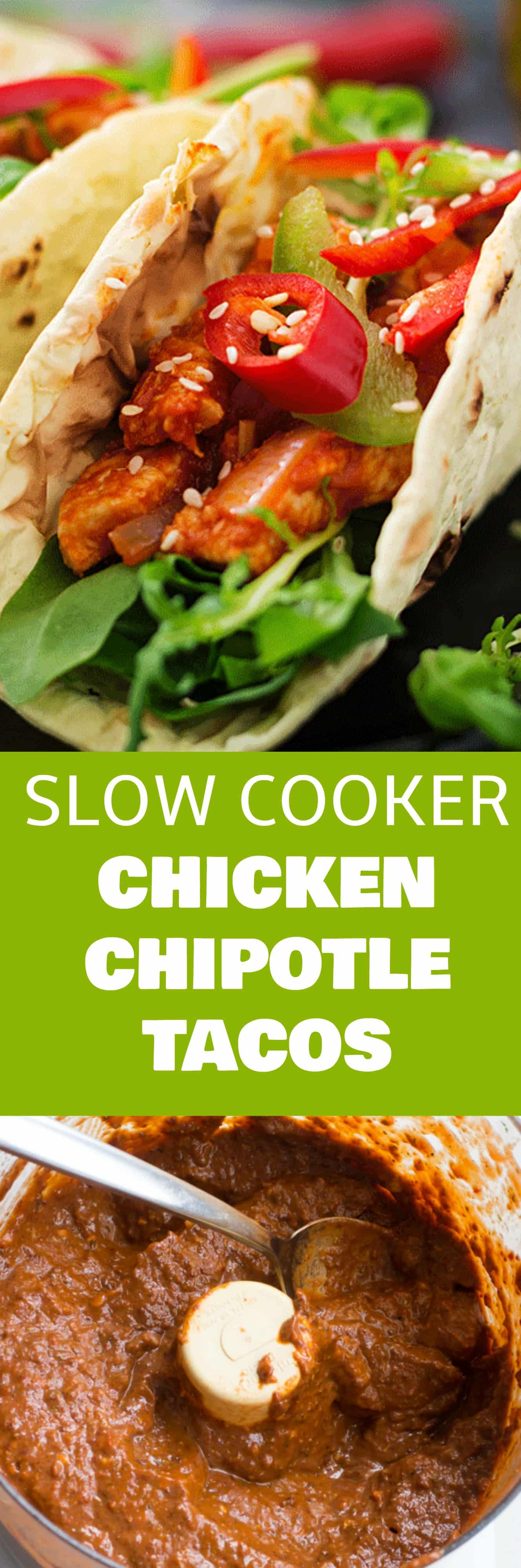 FAMILY FAVORITE Slow Cooker Chicken Chipotle Tacos! These shredded chicken tacos are made in the crockpot in a chipotle sauce marinade! This recipe is easy to make and is ready in 10 on low or 5 hours on high. They are our favorite authentic Mexican tacos!