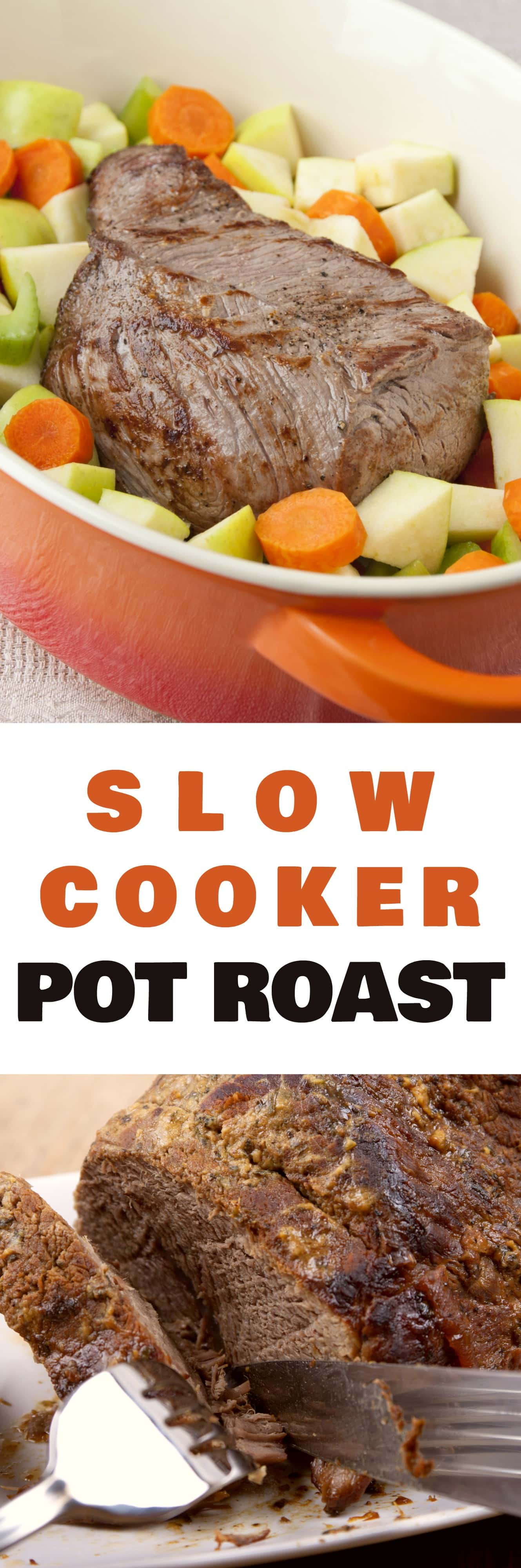 MELT in your MOUTH Slow Cooker Pot Roast!  This Crockpot recipe is the best and is so easy to make!  Add your roast, cream of mushroom soup, beef soup mix and vegetables to the slow cooker and dinner will be ready in 7 hours! This beef roast is my husband's favorite meal, and our family loves the leftovers!