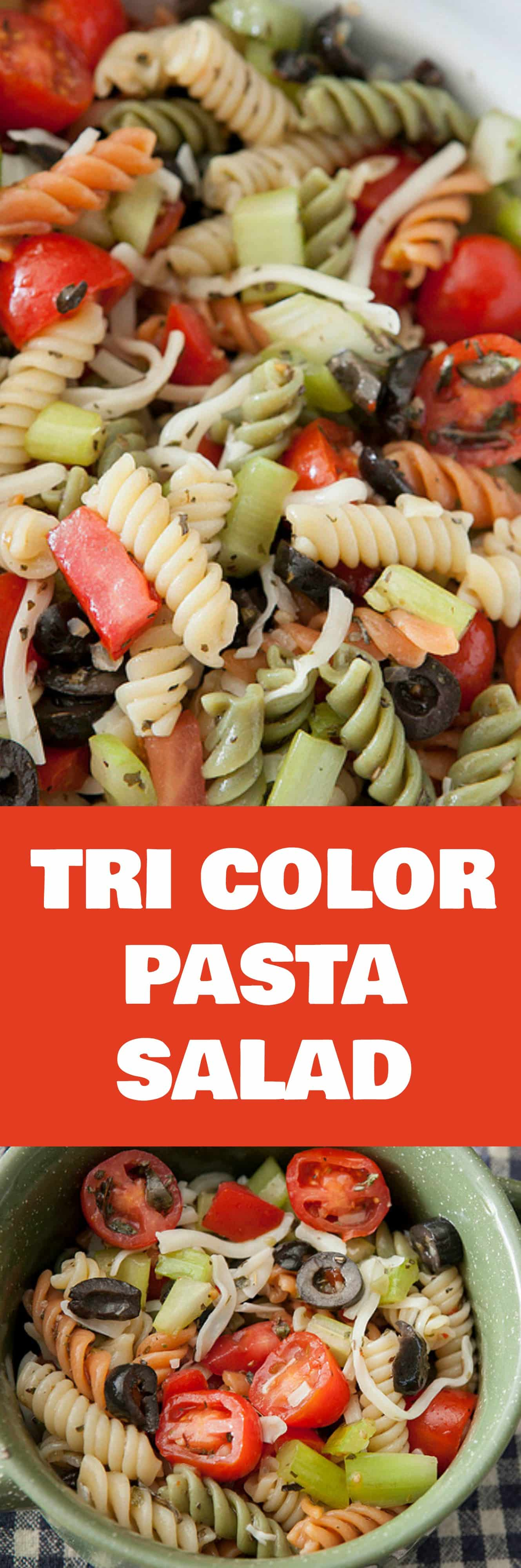 Easy recipe for the best tri color pasta salad!  This is the perfect Summer time salad that uses Italian dressing, fresh vegetables and rotini pasta!