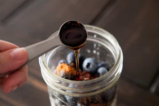 Blueberry Overnight Oats is a quick breakfast that's waiting for you in the morning! Healthy ingredients include oats, blueberries, milk, maple syrup, flaxseeds and cinnamon!