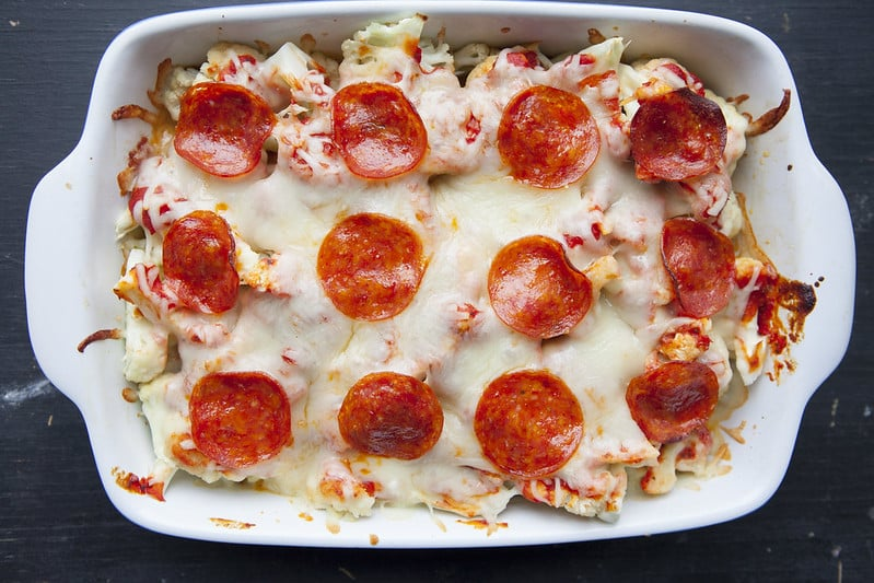 You'll love this baked extra cheesy Pepperoni Pizza Cauliflower Casserole recipe.