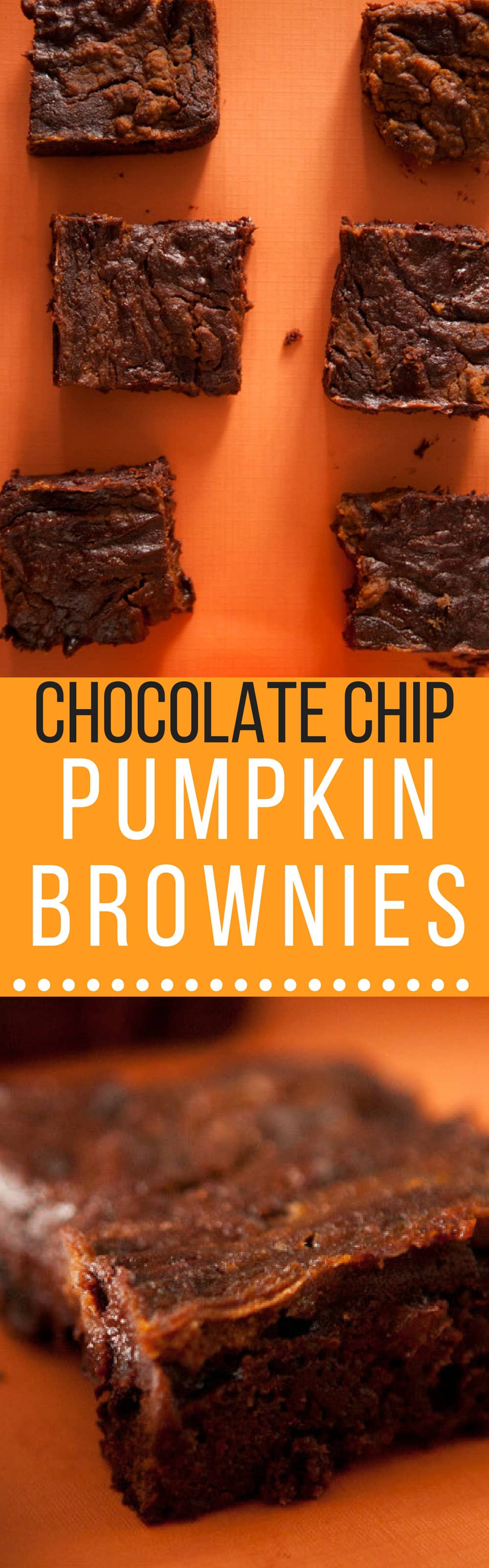 Delicious and Extra Fudgy 4 Ingredient Pumpkin Brownies.  If you're looking for quick Halloween recipes, then this recipe tops my list of easy pumpkin recipes. All you need is a box of brownie mix, pumpkin puree, pumpkin pie spice, and chocolate chips!
