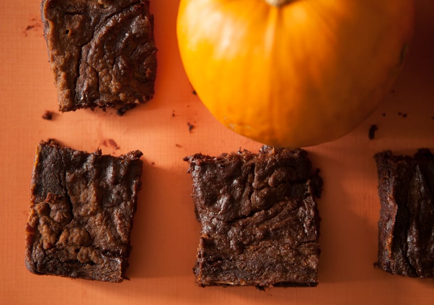 Delicious and Extra Fudgy 4 Ingredient Pumpkin Brownies.  If you're looking for quick Halloween recipes, then this recipe tops my list of easy pumpkin recipes. All you need is brownie mix, pumpkin puree, pumpkin pie spice, and chocolate chips!