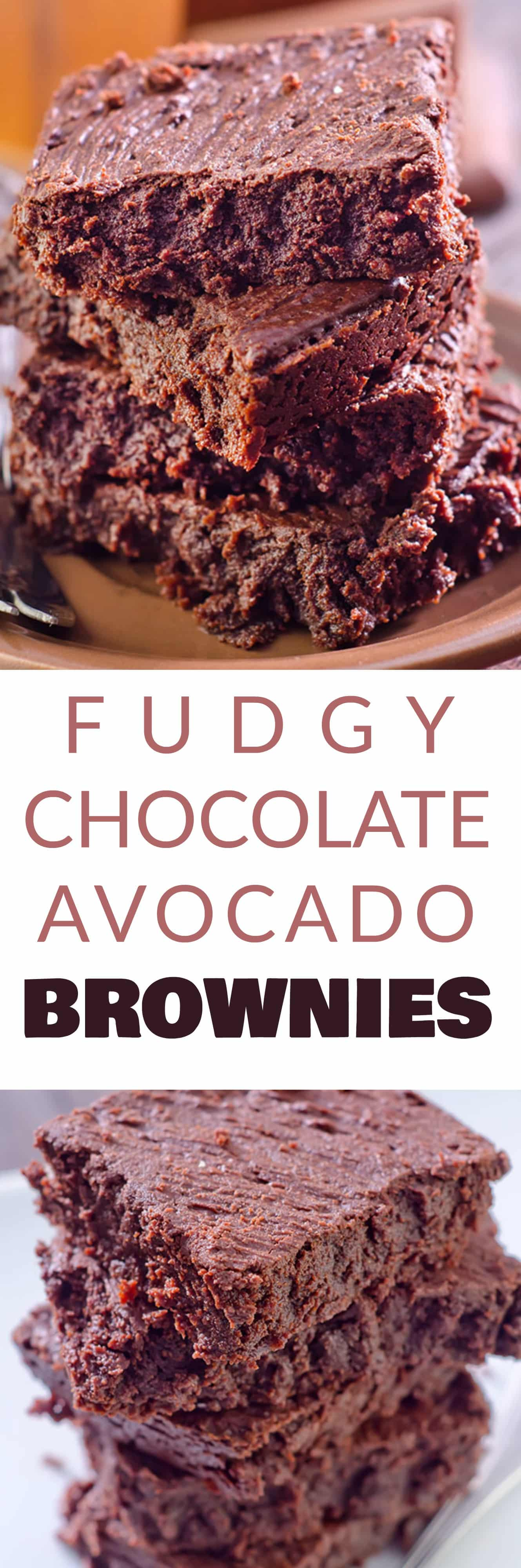 FUDGY CHOCOLATE AVOCADO BROWNIES that are made with APPLESAUCE instead of butter! These healthy version brownies are easy to make in a 8x8 pan and can easily be turned vegan! They are flourless and delicious - my entire family (even the kids!) love them!