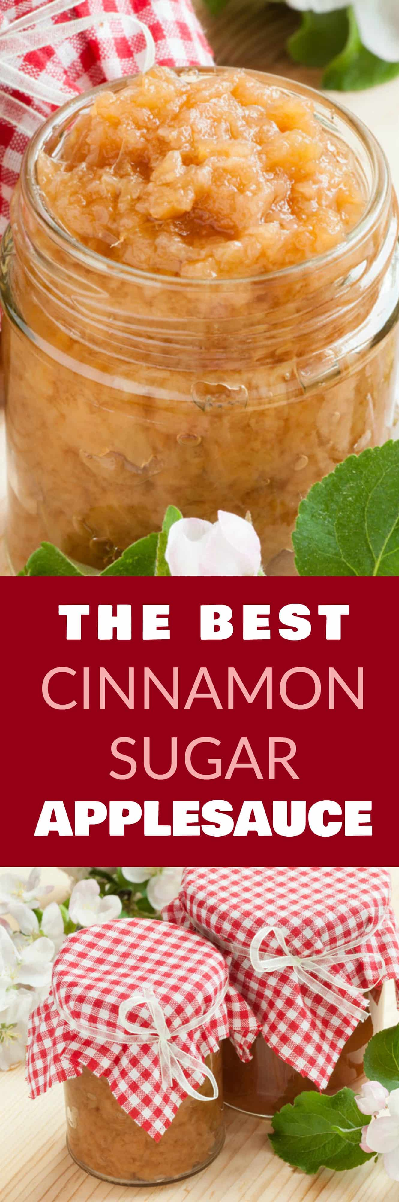 The BEST Cinnamon Sugar Applesauce recipe! This is my FAVORITE homemade apple picking recipe that's so easy to make! All you need is apples, cinnamon, sugar and lemon juice! It's quick to make and tastes delicious! I love eating this as a snack and baking bread with it! You can can the applesauce too!