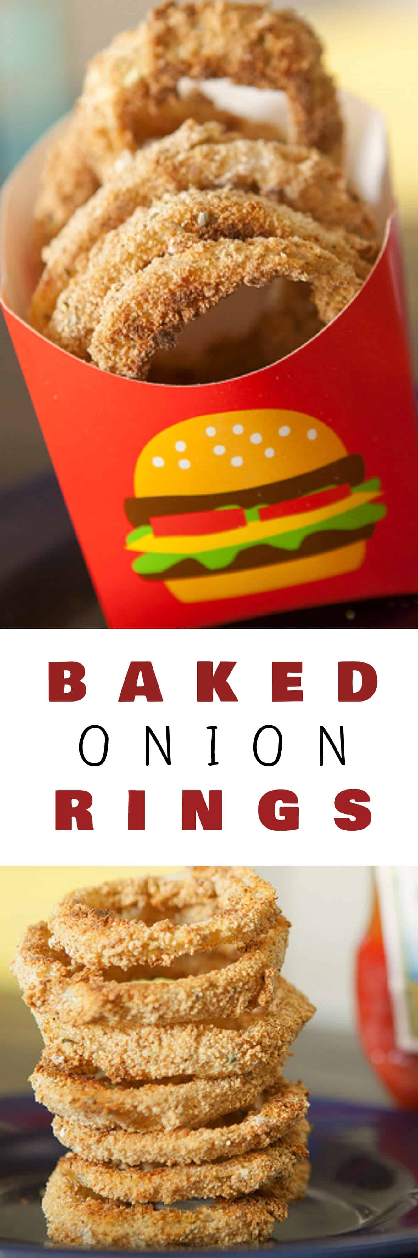 EASY BAKED Onion Rings! This homemade oven baked onion rings recipe is a great side to cheeseburgers! The batter is made with flour, milk, egg, breadcrumbs and spices! We use our garden grown onions to make them – we love how crispy they are!