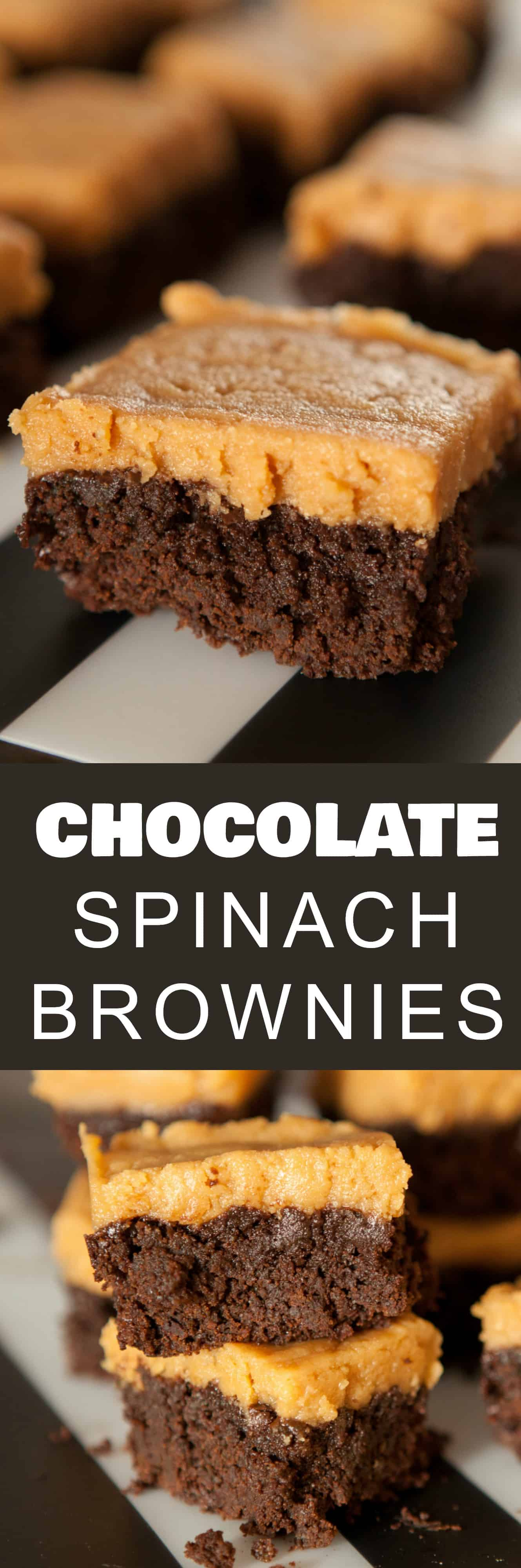 Chocolate SPINACH BROWNIES with Peanut Butter Frosting recipe.  This is a EASY way to get kids or adults to eat their vegetables.  You won't believe how delicious these brownies are!  They're also made with the best peanut butter frosting recipe ever!