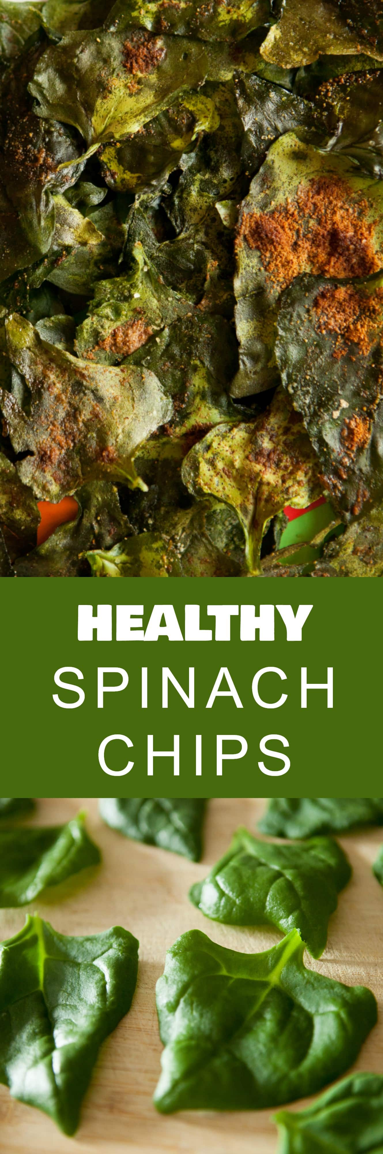 Baked Spinach Chips is a healthy snack made with fresh spinach! This baked recipe is so easy to make! It's a healthy alternative to potato chips!