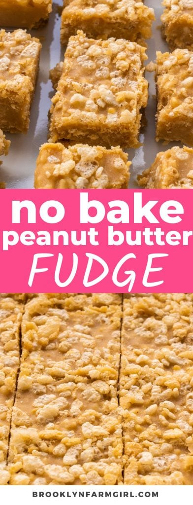 No-bake Crispy Peanut Butter Fudge is smooth, luscious, and a little crunchy thanks to the rice krispies. Make it on the stove or in the microwave!
