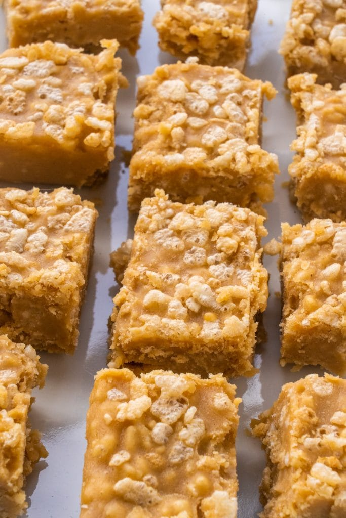 peanut butter fudge with rice krispies cereal on top.