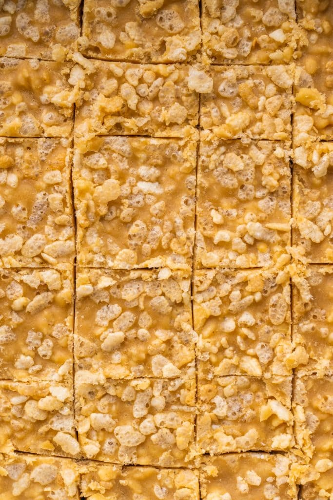 peanut butter fudge cut up into squares.