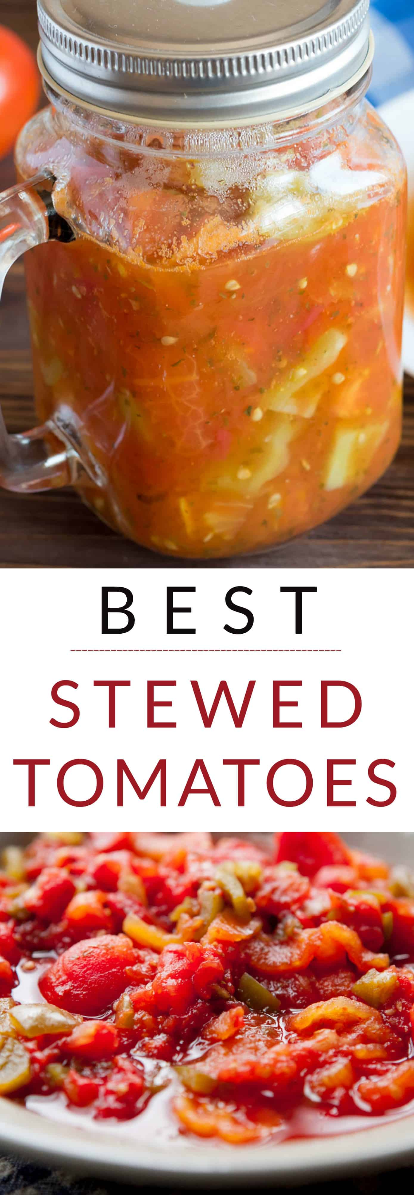 The BEST Stewed Tomatoes Ever recipe! This easy to make recipe simmers tomatoes for 30 minutes to make homemade stewed tomatoes that can be served as a dinner side dish or can be canned. This how to make recipe shows you how easy they are to make! Find out why everyone considers them THE BEST! We always use this as a canning recipe for our Summer garden tomatoes!