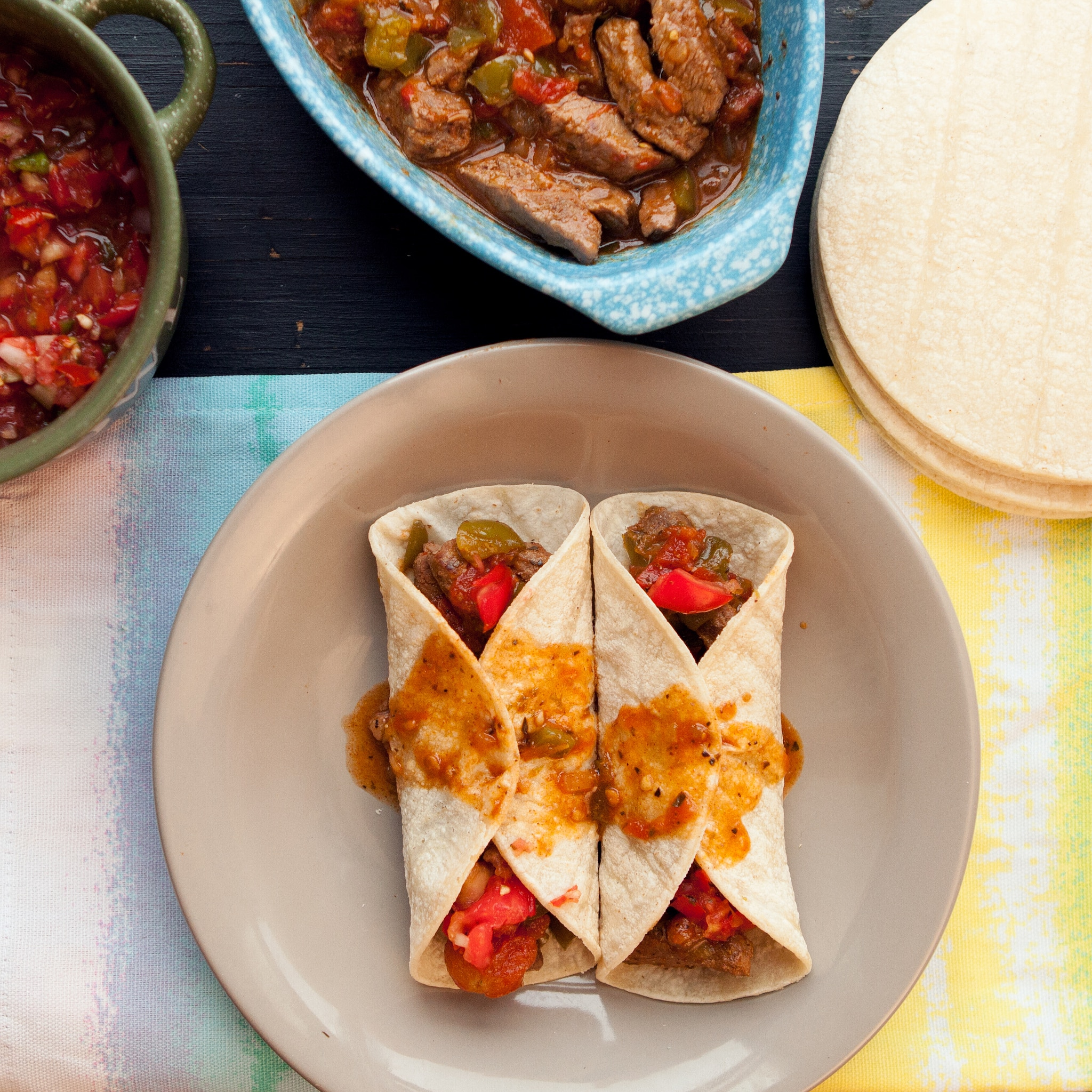 Slow Cooker Pepper Steak Tacos