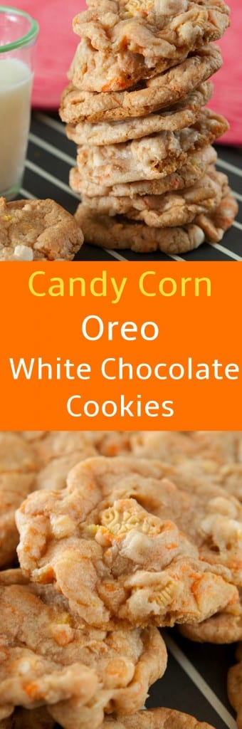 Delicious White Chocolate Chip Cookies made with Candy Corn Oreos. They are perfect for a Halloween seasonal cookie! These cookies are high on the addictive scale, I dare you to eat just one!