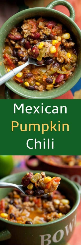 We LOVE this Crockpot Mexican Pumpkin Chili recipe. This easy slow cooker dinner is filled with vegetables and Mexican spices such as green chiles, salsa verde and cumin! You can freeze leftovers!