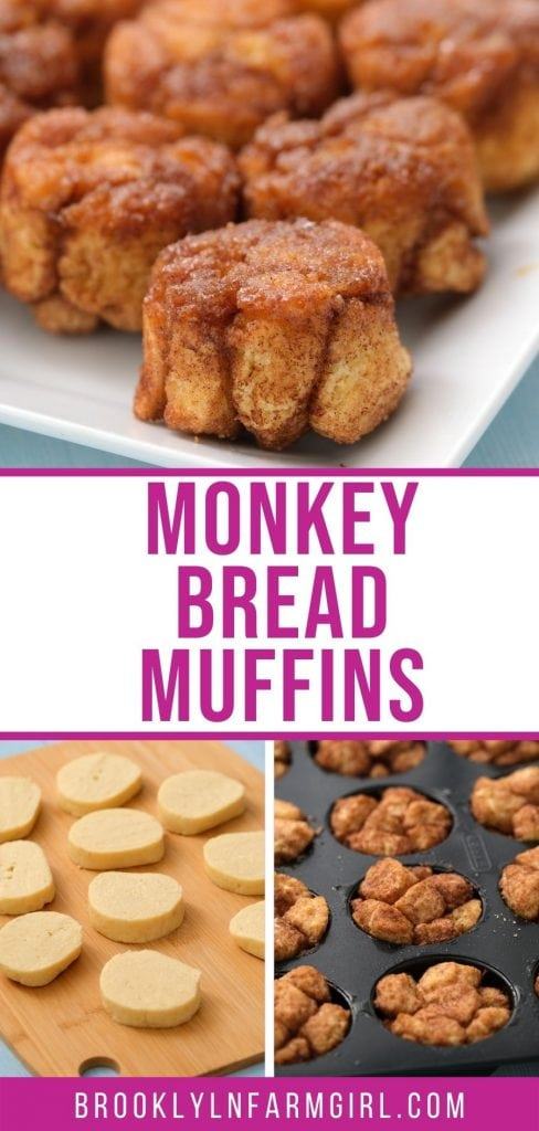 Easy to make Monkey Bread Muffins recipe made with refrigerated biscuits!  You only need 5 ingredients to make this simple alternative to Monkey Bread with no bundt pan needed!