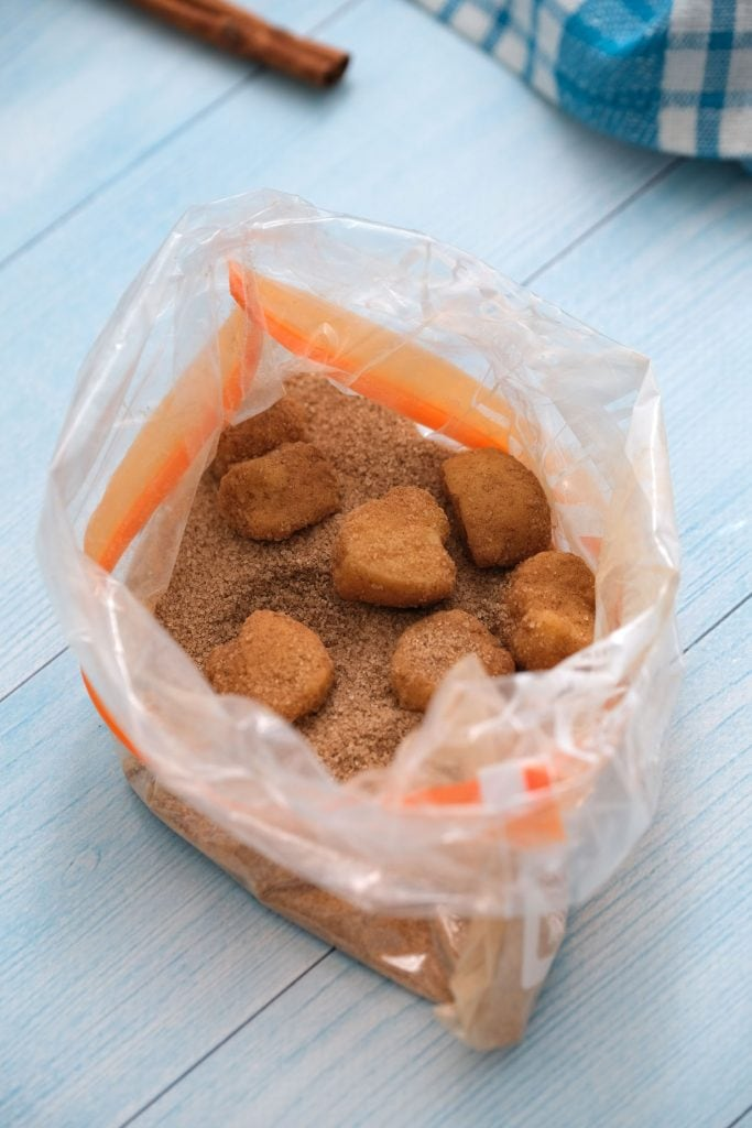 bag of cinnamon sugar with biscuits in it