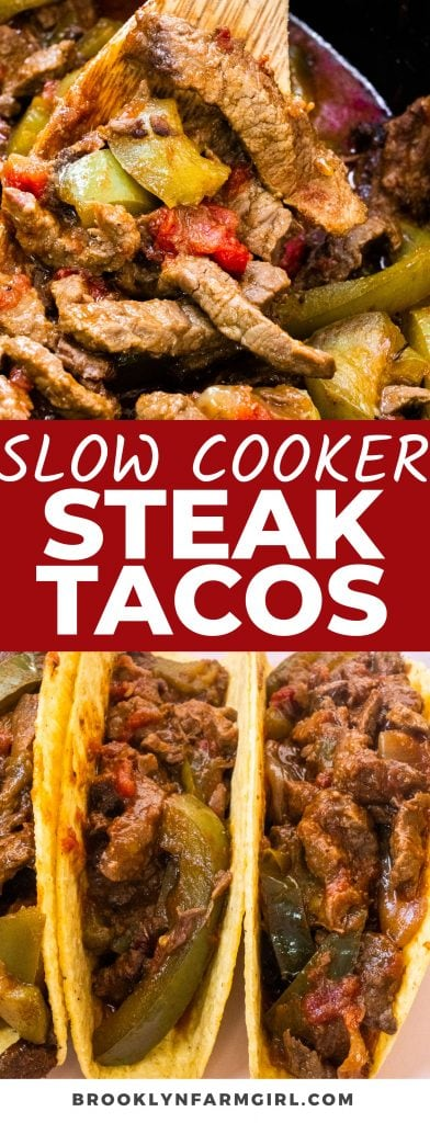 These easy Slow Cooker Steak Tacos are a great dinner that you can set and forget using your crockpot. Simply combine sirloin steak, seasonings, peppers, and onions for a tender beef taco that's tortilla-ready. Great for weeknight dinners and delicious leftovers!