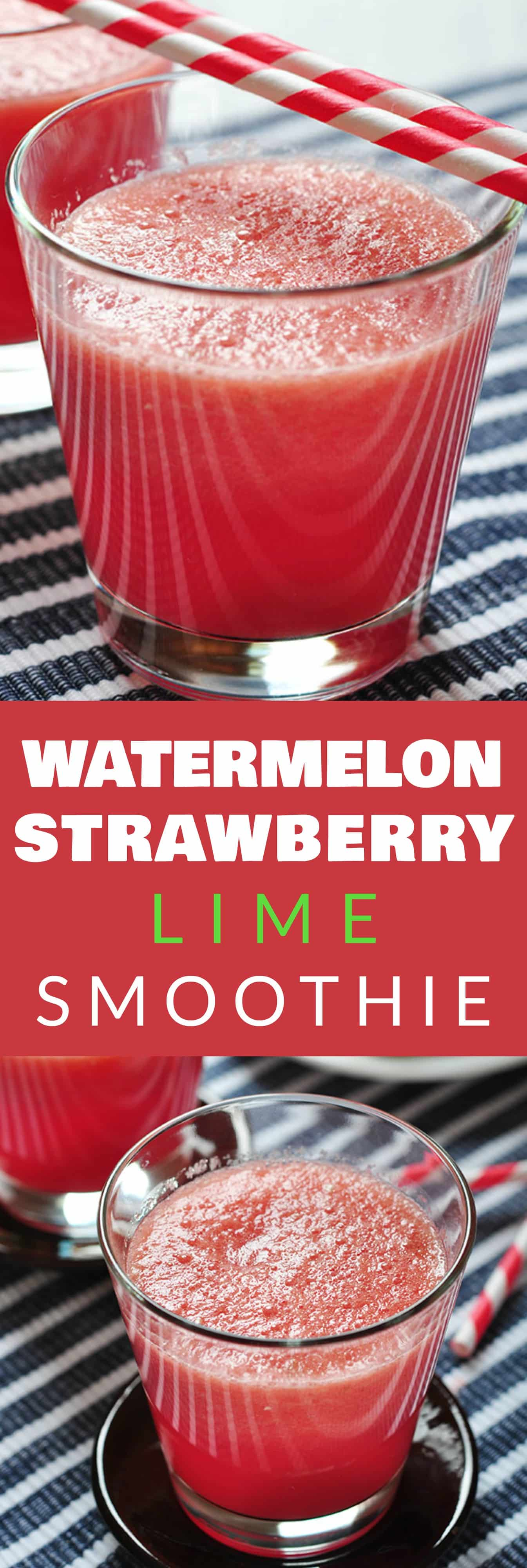 HEALTHY Watermelon Strawberry Smoothie recipe that is perfect for the SUMMER!  All you have to do is throw all the ingredients in the blender for this easy recipe.  You can also use frozen fruit if watermelon is out of season.  This smoothie is healthy, low calorie (doesn't use milk) and great for weightloss.