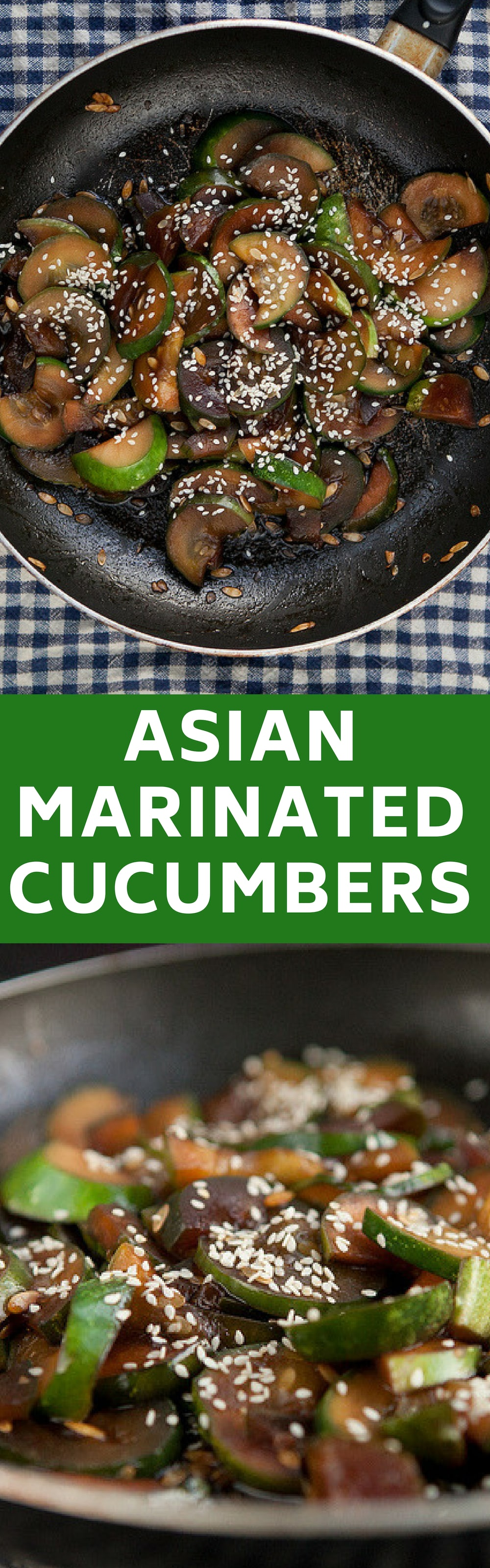 Easy to make Asian marinated cucumbers!  This healthy recipe is cooked  in 10 minutes.  My family loves it served over rice or with chicken.