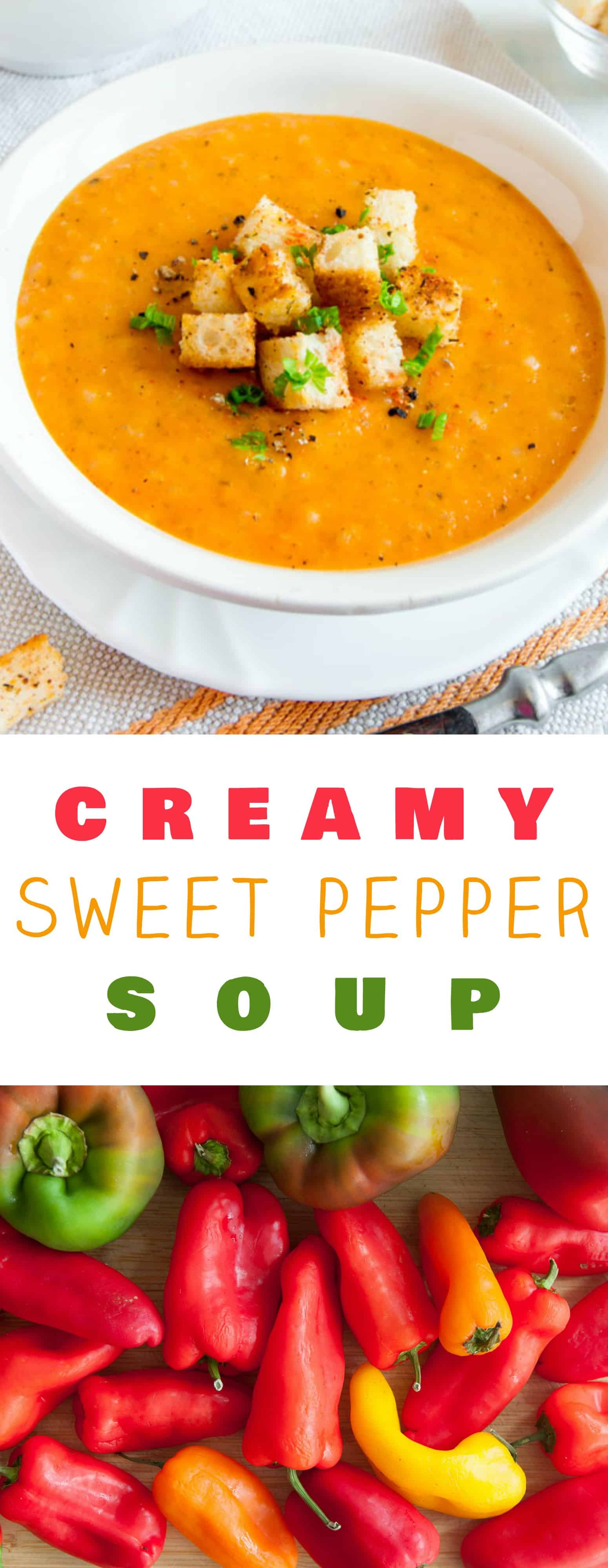 Creamy and Healthy Sweet Pepper Soup! Delicious sweet peppers are combined with chicken broth and rice to make it a dinner time favorite! This gluten-free recipe is easy to make and can easily be turned vegetarian by using vegetable broth. This is the perfect soup for using a overabundance of peppers from the garden or farmers market! Make sure to serve with some crusty Italian bread!