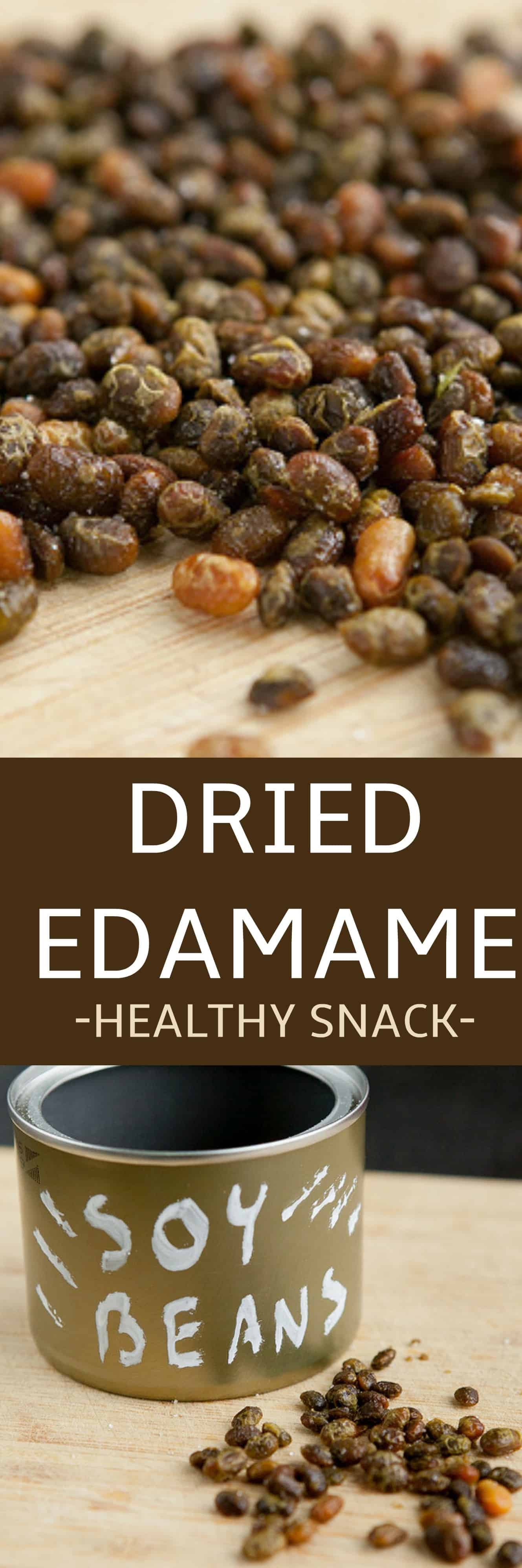 EASY to make dried edamame recipe using soybeans! This healthy edamame is slow roasted and salted! If you're growing soybeans this year you need to make this snack!