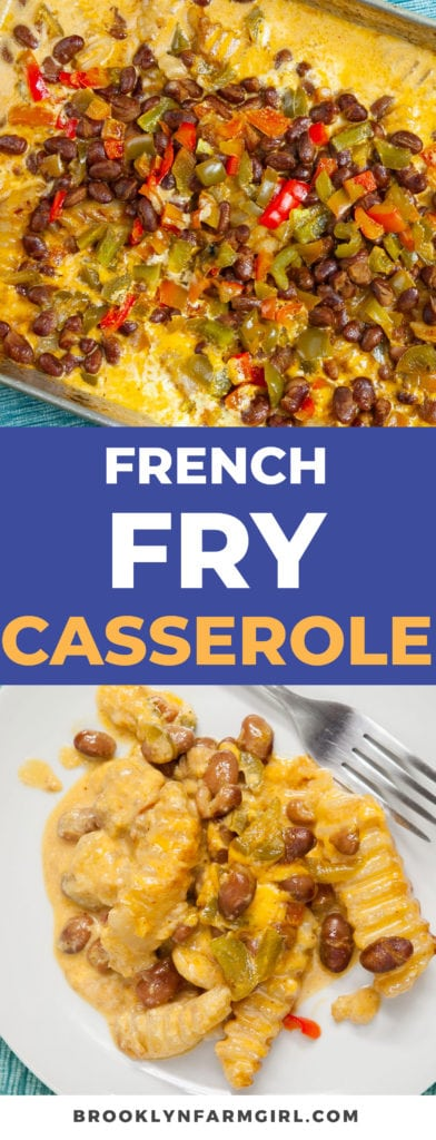 This Cheesy French Fry Casserole recipe is made with frozen french fries and shredded cheddar cheese. Easy to make, baked in the oven for 1 hour.  Your entire family is going to love these Loaded French Fries!