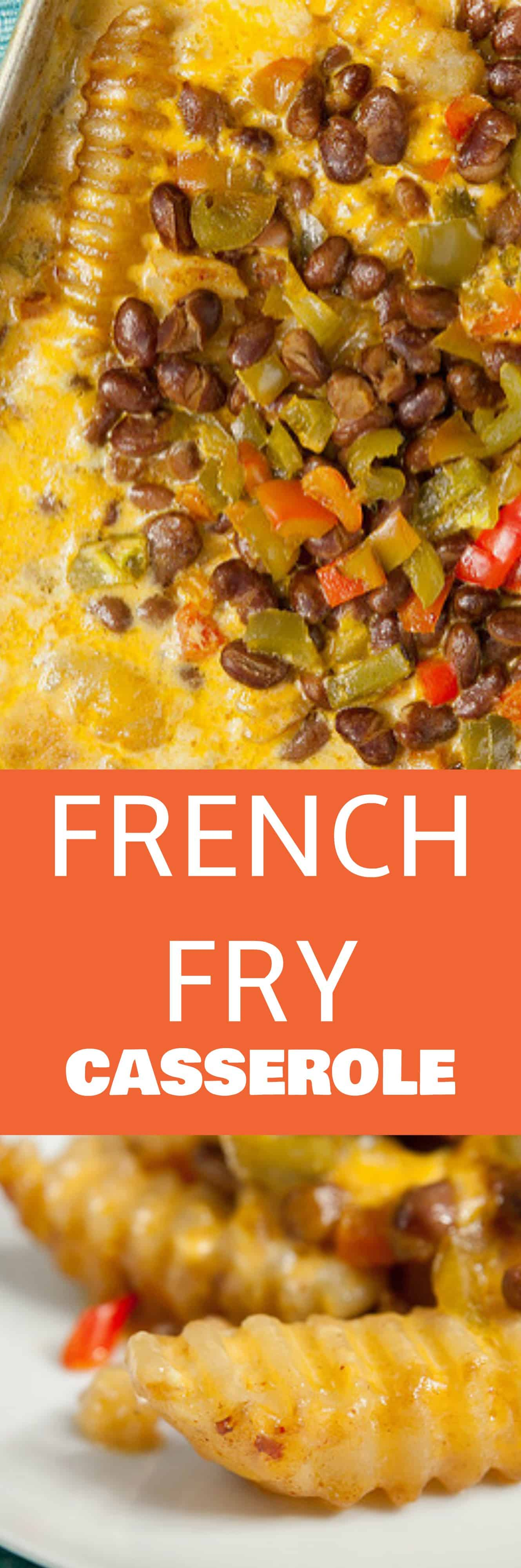 CHEESY French Fry Casserole! This easy baked casserole recipe is made with frozen french fries and shredded cheddar cheese. Your entire family is going to love this loaded dinner casserole!