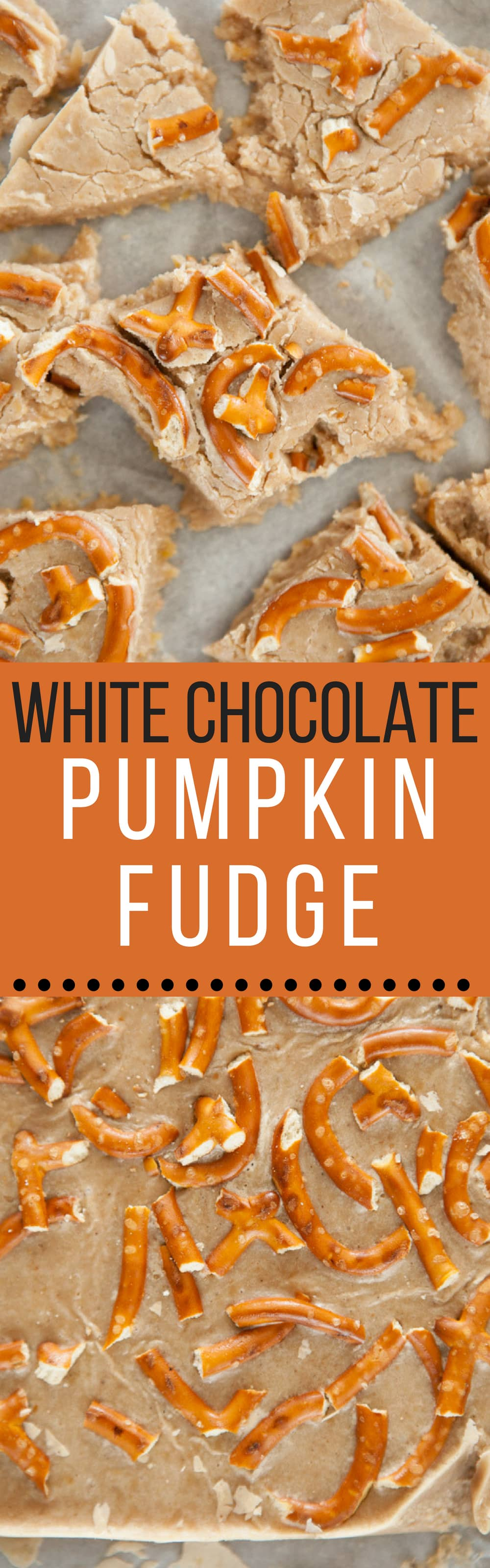 This Pumpkin Fudge with white chocolate chips and pretzels is a no-bake easy homemade fudge recipe.  The chocolate and pretzels give it a delicious sweet and salty taste! You can make these as good afterschool healthy snacks.