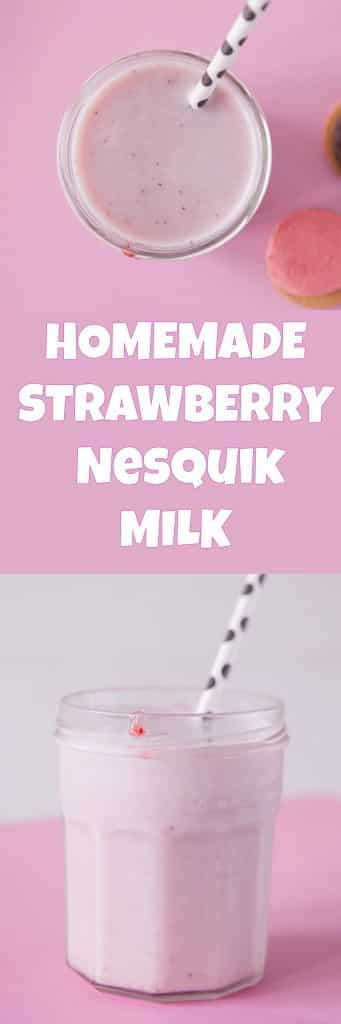 100% natural homemade recipe for Nesquik Strawberry Milk using fresh strawberries. You'll love how easy and healthy this drink tastes!  It tastes just like you remember as a kid!