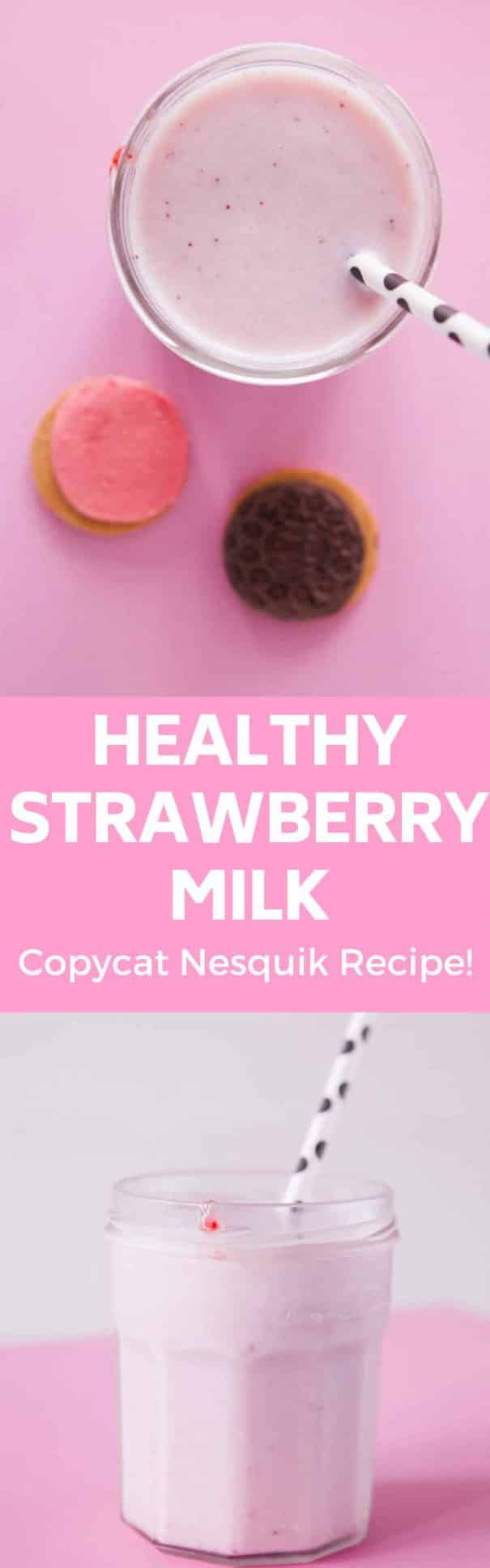 Natural homemade recipe for Nesquik Strawberry Milk using fresh strawberries.  This milk is easy to make, and much more healthy than the store bought version!  Also includes vegan strawberry milk option.