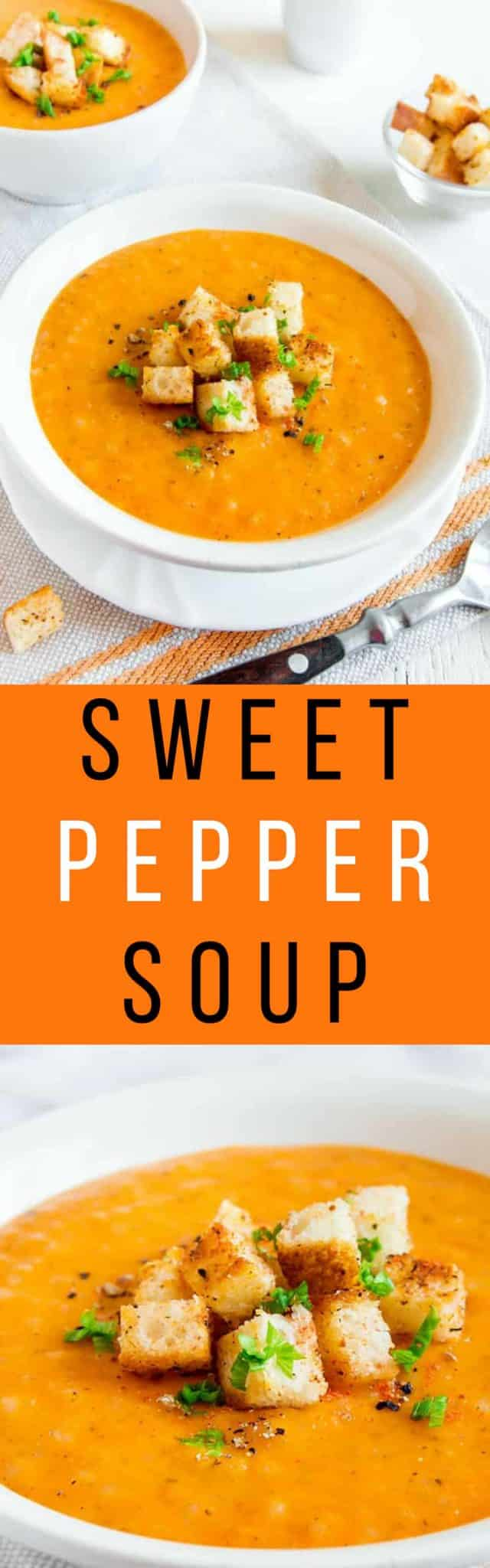 CREAMY and HEALTHY Sweet Pepper Soup!  This easy dinner recipe combines sweet peppers with chicken broth and rice.  This gluten-free recipe is easy to make and can easily be turned vegetarian by using vegetable broth.  This is the perfect soup for using up a bunch of peppers!  Make sure to serve with some crusty Italian bread!