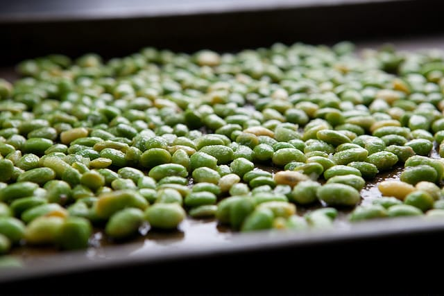 soybeans on pan