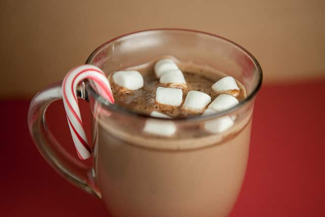 Creamy Peppermint Hot Chocolate recipe for 2! This recipe uses milk, peppermint mocha, chocolate chips, cocoa powder and more!