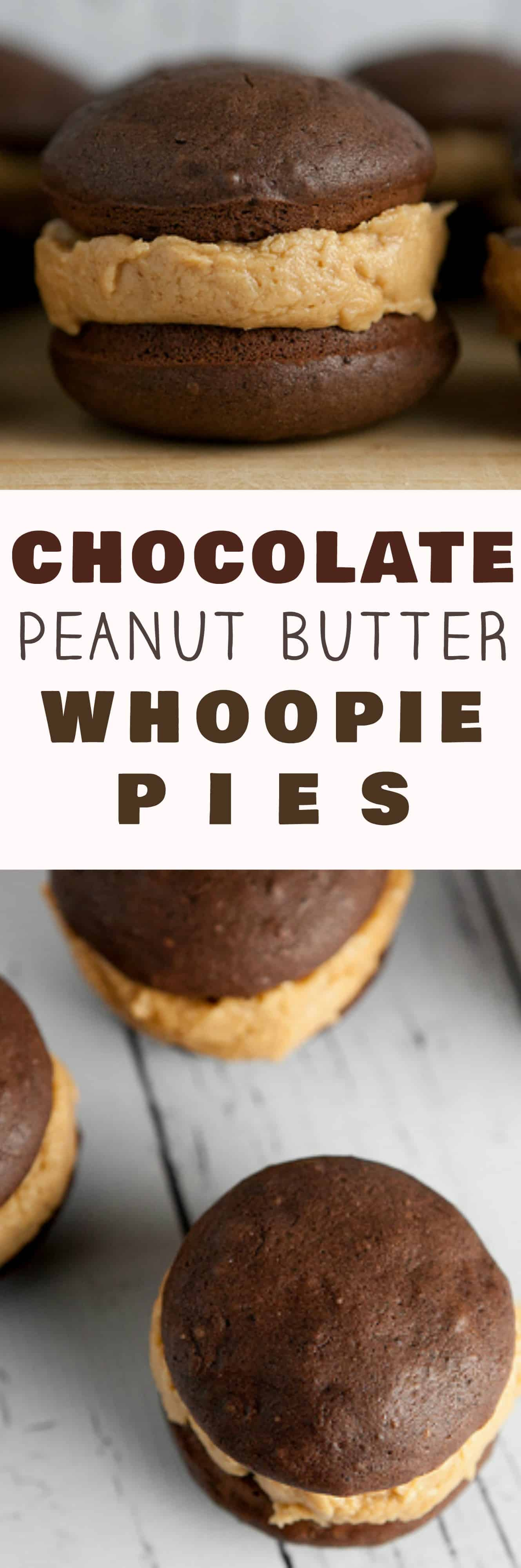 The BEST Chocolate Peanut Butter Buttercream Whoopie Pies! Bake up a dozen of these classic Chocolate Whoopie Pies with this easy homemade recipe. These pies are extra moist with DELICIOUS peanut butter buttercream filling - perfect for desserts and parties!