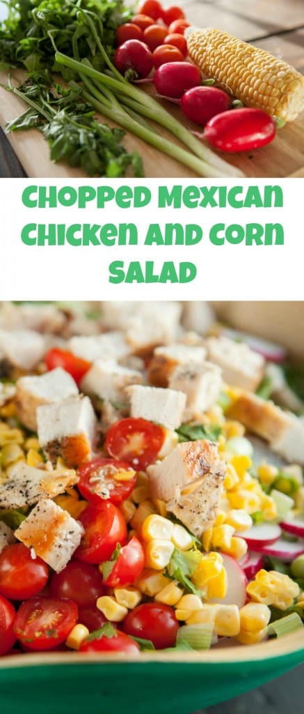 Chopped Mexican Chicken Salad is a quick and healthy recipe that uses fresh ingredients.  You can serve it as a main or side dish.