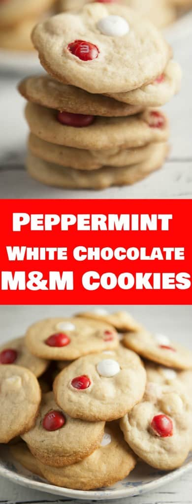 Super yummy Cookies made with Peppermint White Chocolate M&M's!  Each cookie has a sugary, peppermint, chocolate taste to them.