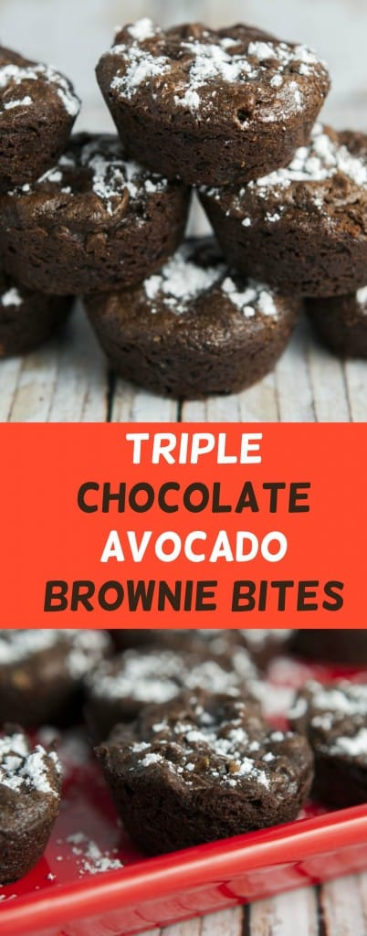 These Triple Chocolate Avocado Peanut Butter Brownie Bites are delicious!  The recipe uses 1 whole avocado which is a healthy alternative to oils.  Because they're bite size they are perfect for parties or guilt free snacking!