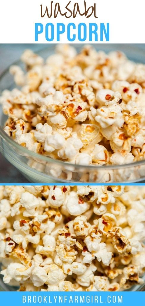 Easy to make Wasabi Popcorn recipe.    This healthy snack tastes like a spicy buttery sweet kettle corn without all the extra calories!
