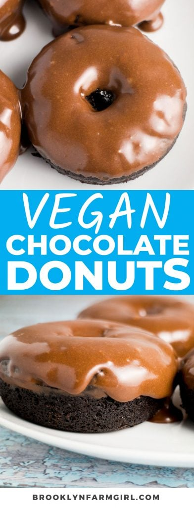 These tasty Chocolate Vegan Donuts are made with simple ingredients and contain no dairy or hard-to-find vegan ingredients. Baked and not fried, each bite of the chocolate frosting-covered treat is rich, decadent, and luscious.