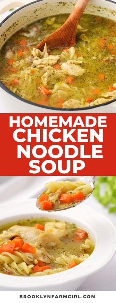 Easy to make Homemade Chicken Noodle soup made with a whole chicken and egg noodles.  This classic recipe will feel like a big comforting hug in a bowl!